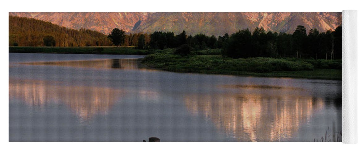 Grand Teton Yoga Mat featuring the photograph Morning Tranquility by Sandra Bronstein