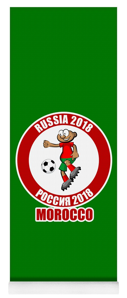 Morocco Yoga Mat featuring the drawing Morocco In The Soccer World Cup Russia 2018 by Daniel Ghioldi