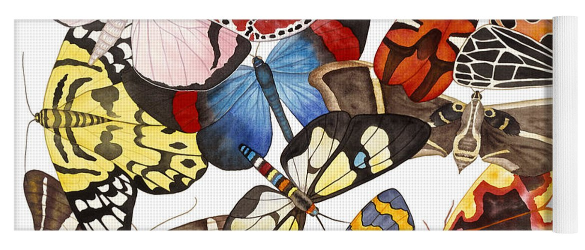 Moths Yoga Mat featuring the painting Moths and More Moths by Lucy Arnold