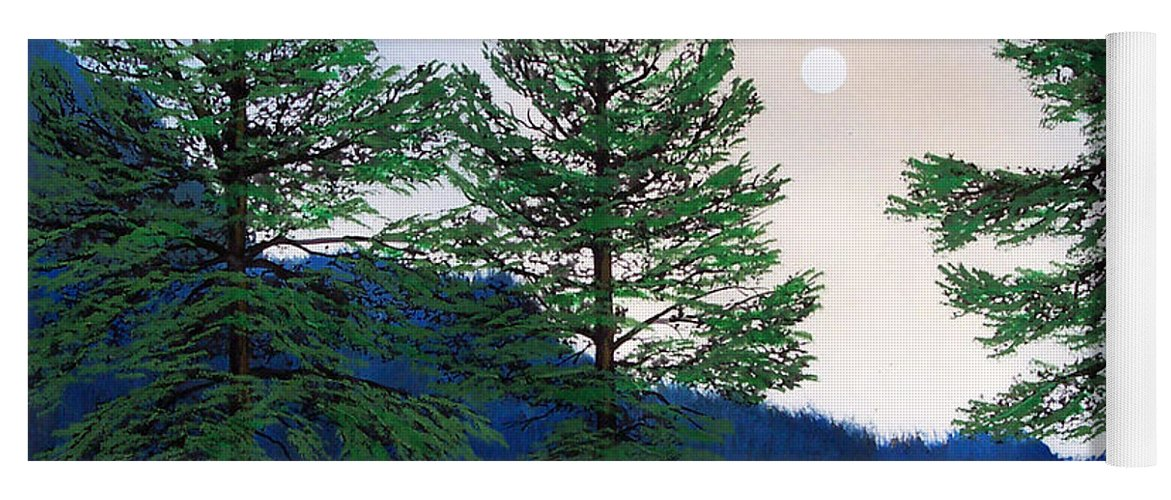 Yoga Mat featuring the painting Mountain Pines by Frank Wilson