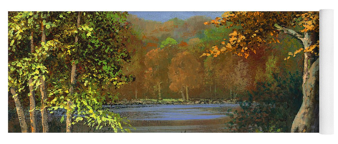 Landscape Yoga Mat featuring the painting Mountain Pond by Frank Wilson