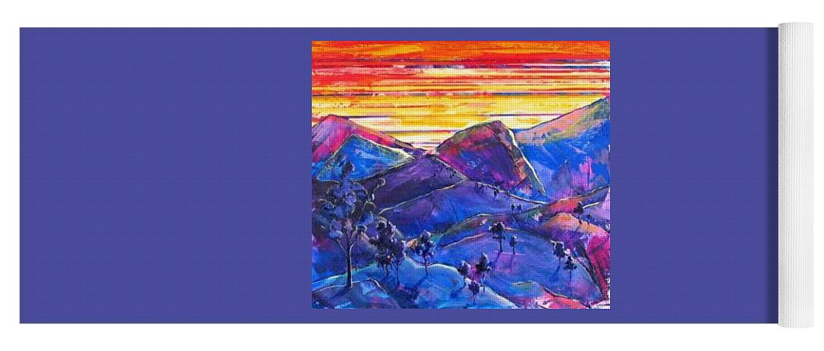 Mountains Yoga Mat featuring the painting Mountainscape Blue by Rollin Kocsis