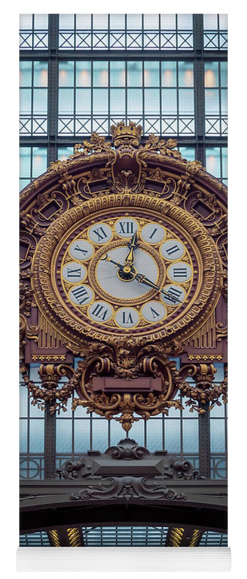 Joan Carroll Yoga Mat featuring the photograph Musee D'orsay Gold Clock by Joan Carroll