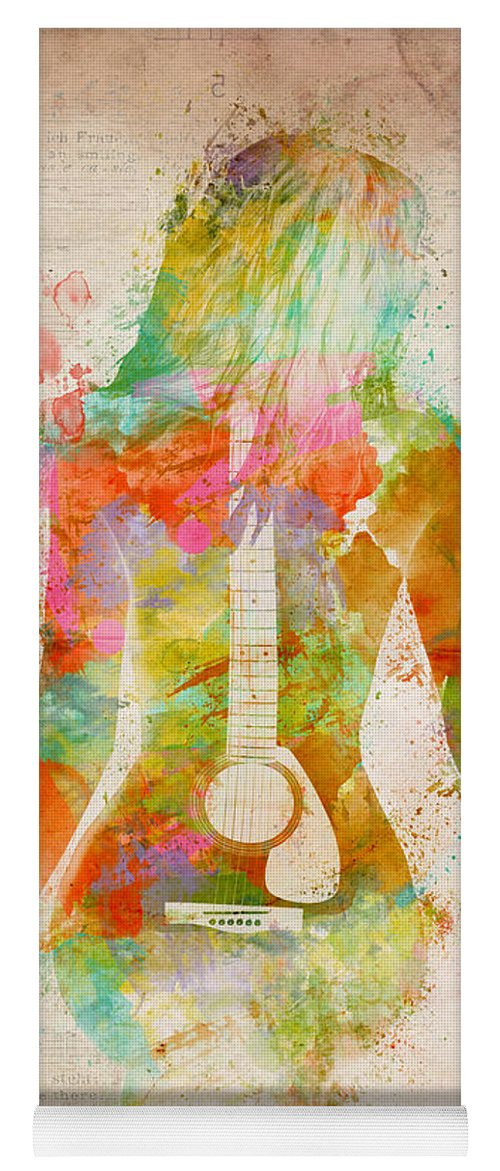 Guitar Yoga Mat featuring the digital art Music Was My First Love by Nikki Marie Smith