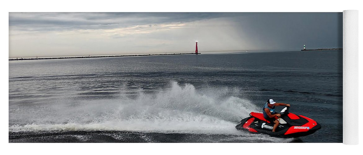 Jet Ski Yoga Mat featuring the photograph Muskegon South Pier Lighthouse by Michael Rucker