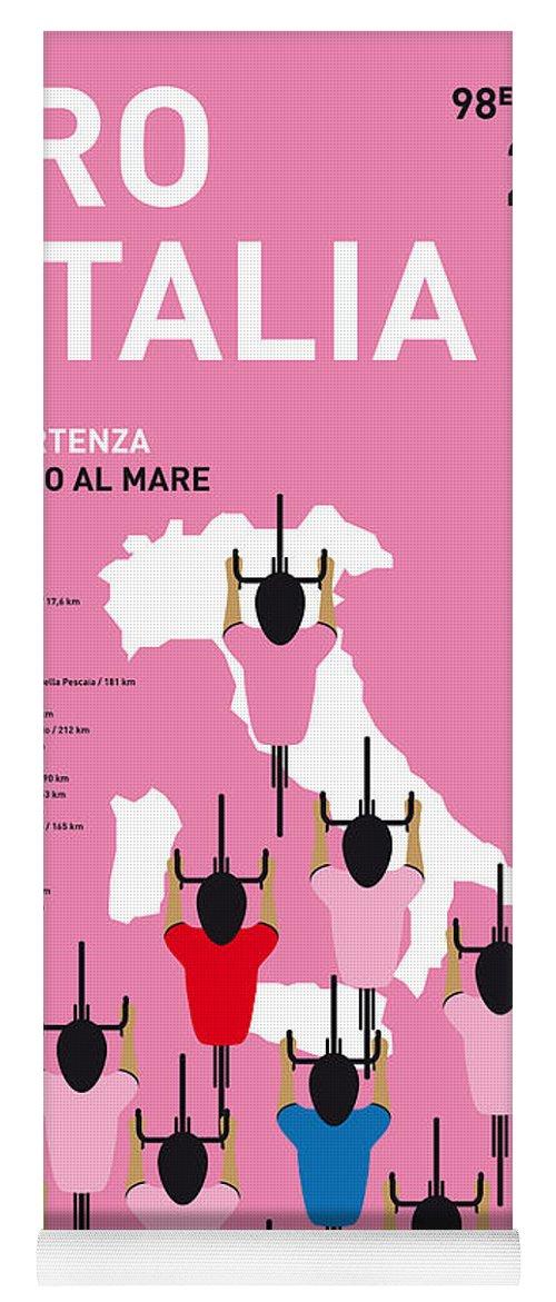2015 Yoga Mat featuring the digital art MY GIRO D'ITALIA MINIMAL POSTER Percorso 2015 by Chungkong Art