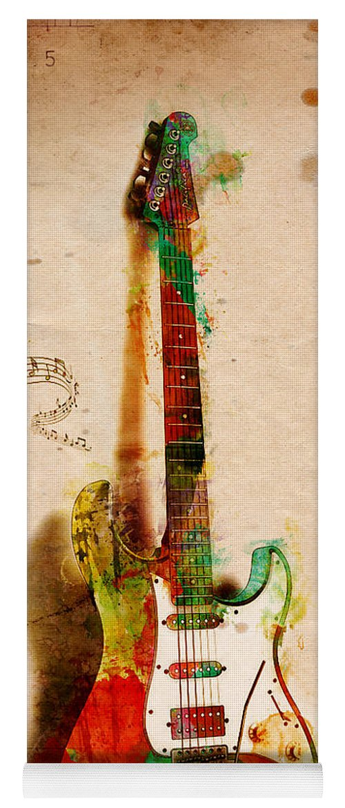 Guitar Yoga Mat featuring the digital art My Guitar Can SING by Nikki Smith