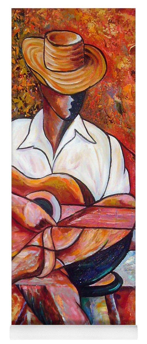 Cuba Art Yoga Mat featuring the painting My Guitar by Jose Manuel Abraham