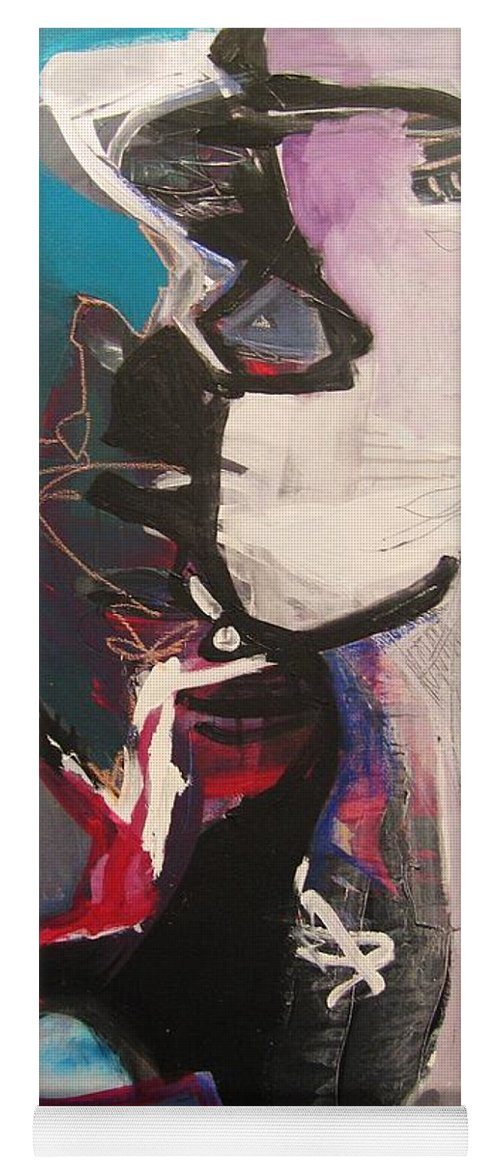 Abstract Art Paintings Yoga Mat featuring the painting Nagging Voice by Seon-Jeong Kim