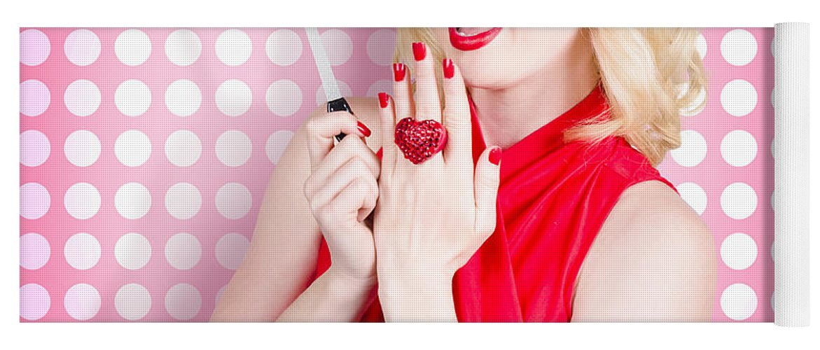Nail Hand Model. Retro Pinup Girl With Red Nails Yoga Mat for Sale ...