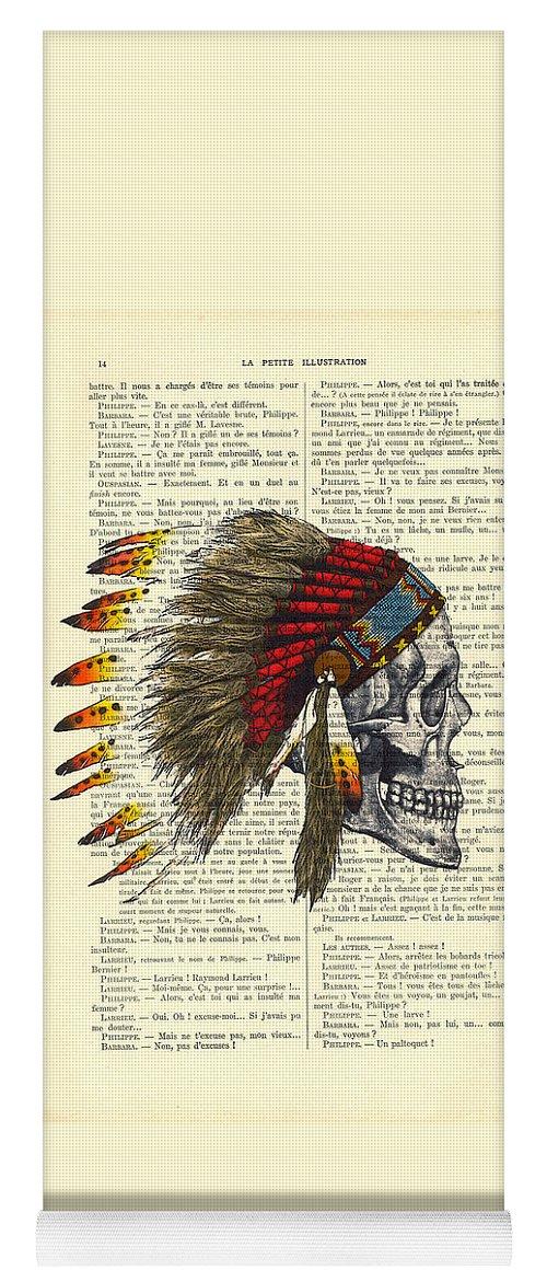 Native American Yoga Mat featuring the digital art Native American Skull by Madame Memento