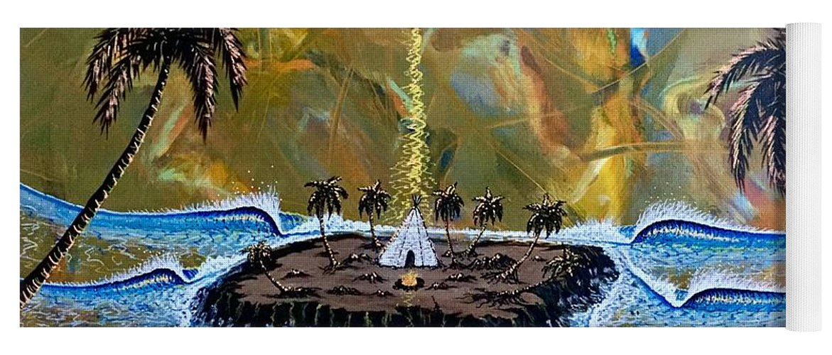 Native Yoga Mat featuring the painting Native Sunset Dream by Paul Carter