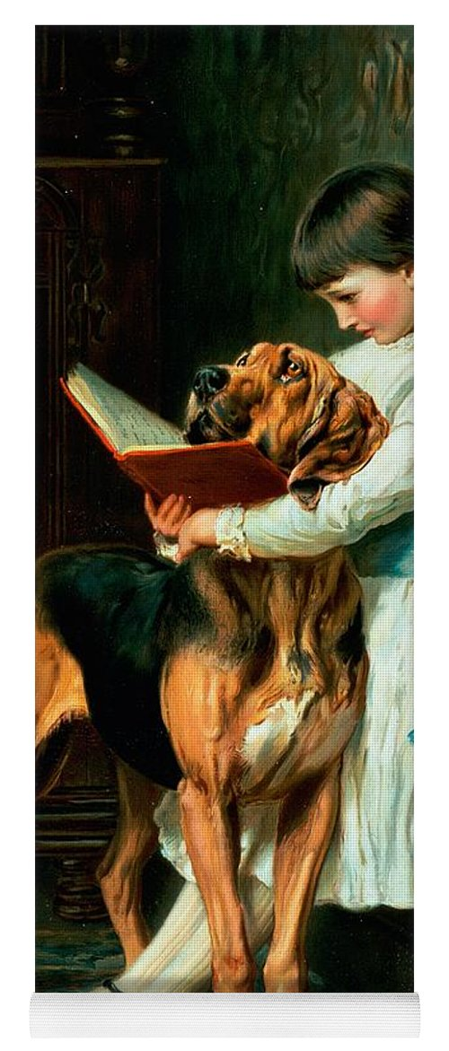 Naughty Yoga Mat featuring the painting Naughty Boy Or Compulsory Education by Briton Riviere