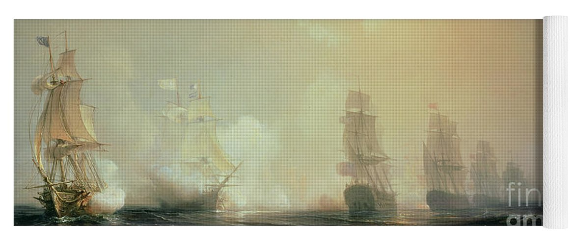 Boat Yoga Mat featuring the painting Naval Battle In Chesapeake Bay by Jean Antoine Theodore Gudin