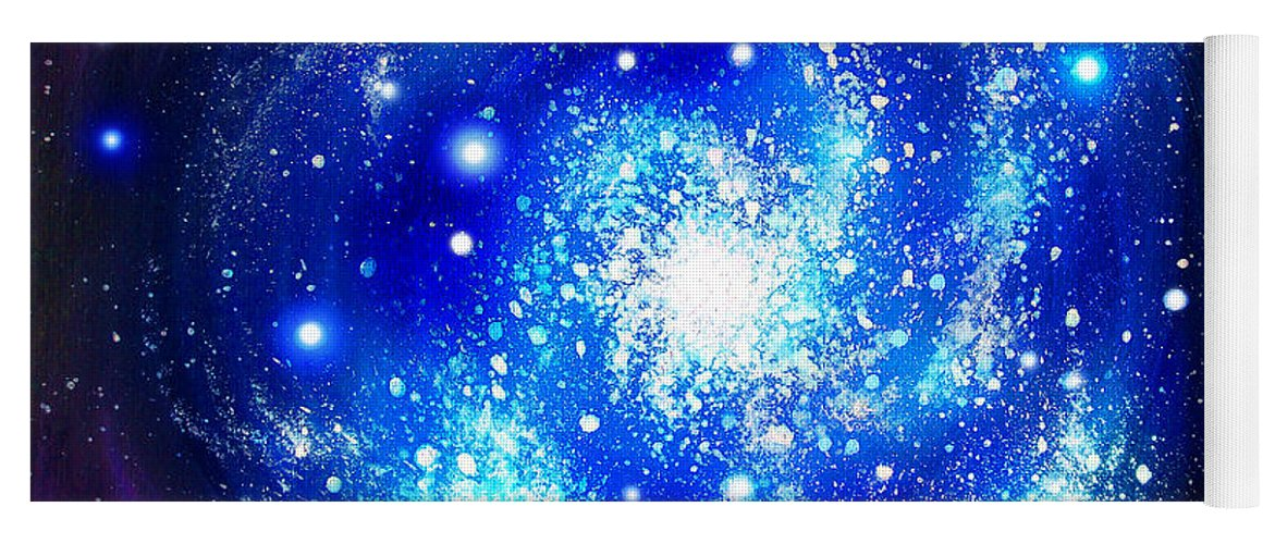Blue Yoga Mat Featuring The Painting Neon Galaxy Bright Stars By Sofia Metal