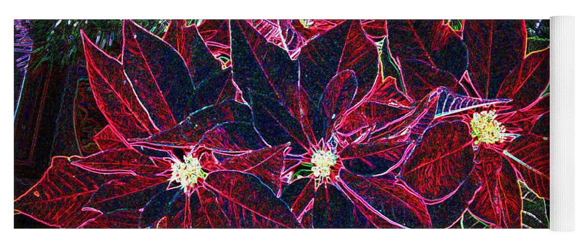 Flowers Yoga Mat featuring the photograph Neon Poinsettias by Nancy Mueller