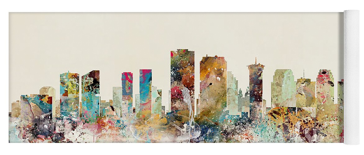 New Orleans Yoga Mat featuring the painting New Orleans City Skyline by Bri Buckley