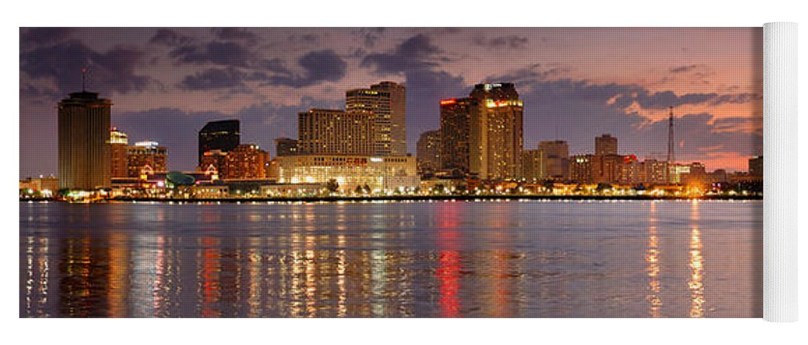New Orleans Skyline At Dusk Yoga Mat featuring the photograph New Orleans Skyline At Dusk by Jon Holiday