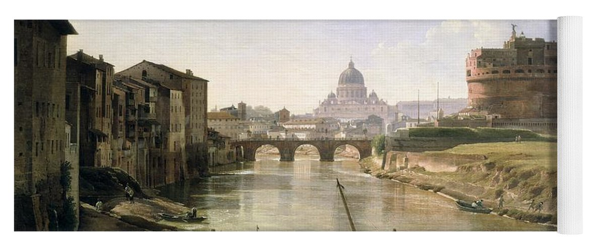 River Tiber Yoga Mat featuring the painting New Rome With The Castel Sant Angelo by Silvestr Fedosievich Shchedrin