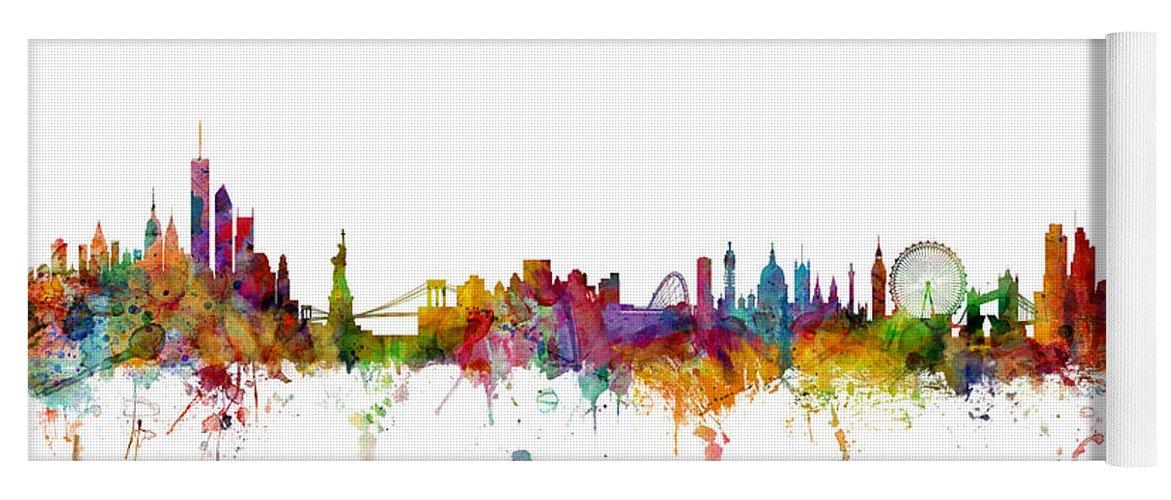 Cityscape Yoga Mat featuring the digital art New York and London Skyline Mashup by Michael Tompsett