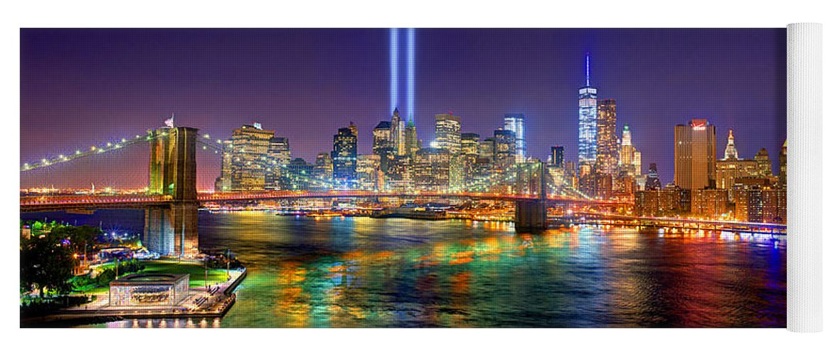 New York City Skyline Night Yoga Mat featuring the photograph New York City Brooklyn Bridge Tribute In Lights Freedom Tower World Trade Center Wtc Manhattan Nyc by Jon Holiday