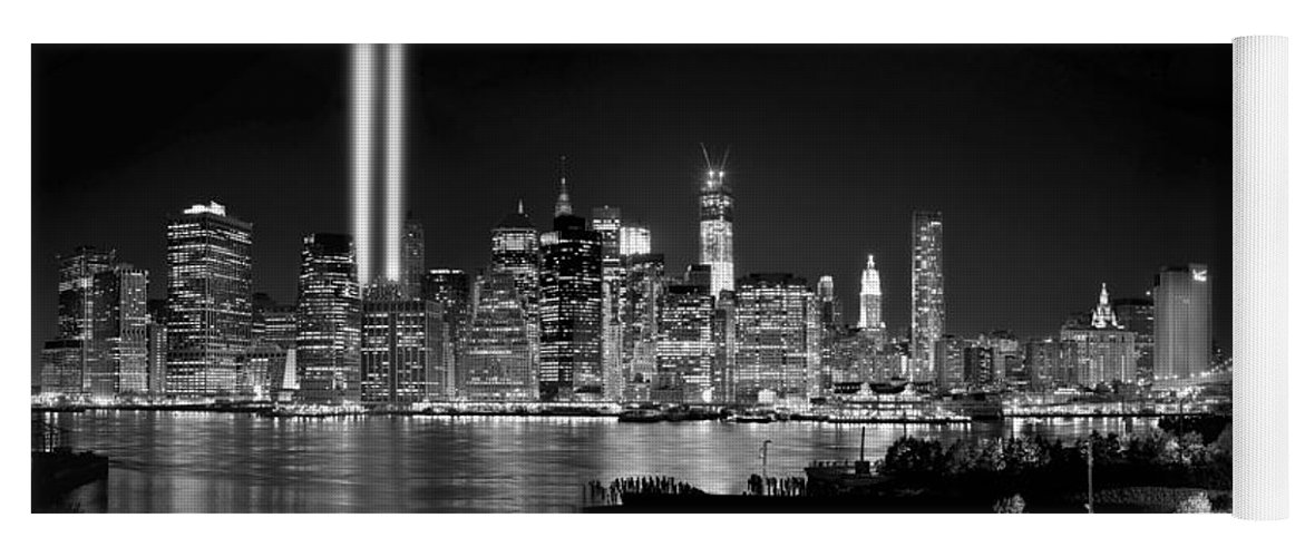 New York City Skyline At Night Yoga Mat featuring the photograph New York City Bw Tribute In Lights And Lower Manhattan At Night Black And White Nyc by Jon Holiday