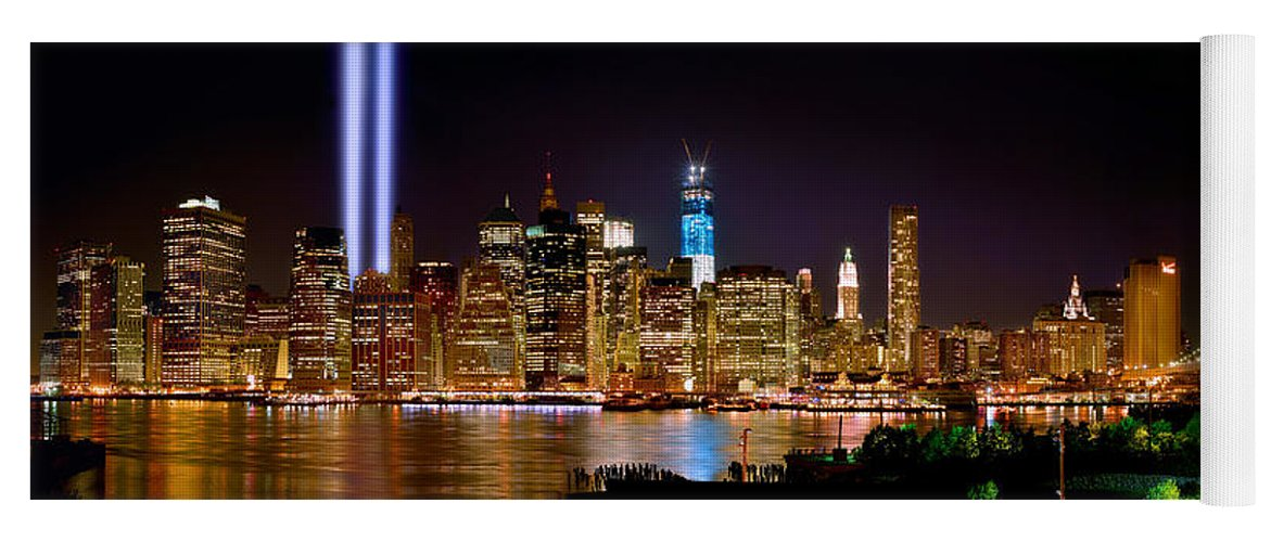 New York City Skyline At Night Yoga Mat featuring the photograph New York City Tribute In Lights And Lower Manhattan At Night Nyc by Jon Holiday