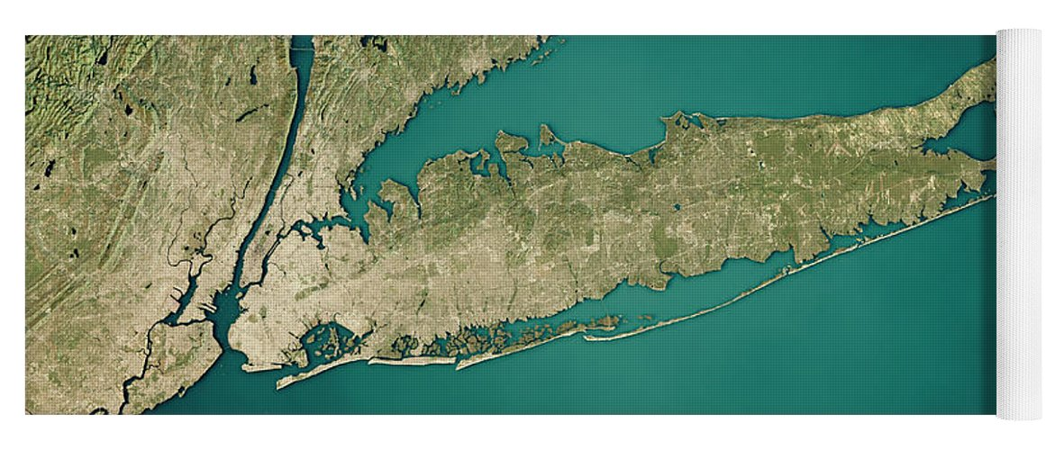 Topographic Map Long Island.New York Long Island 3d Render Satellite View Topographic Map Yoga