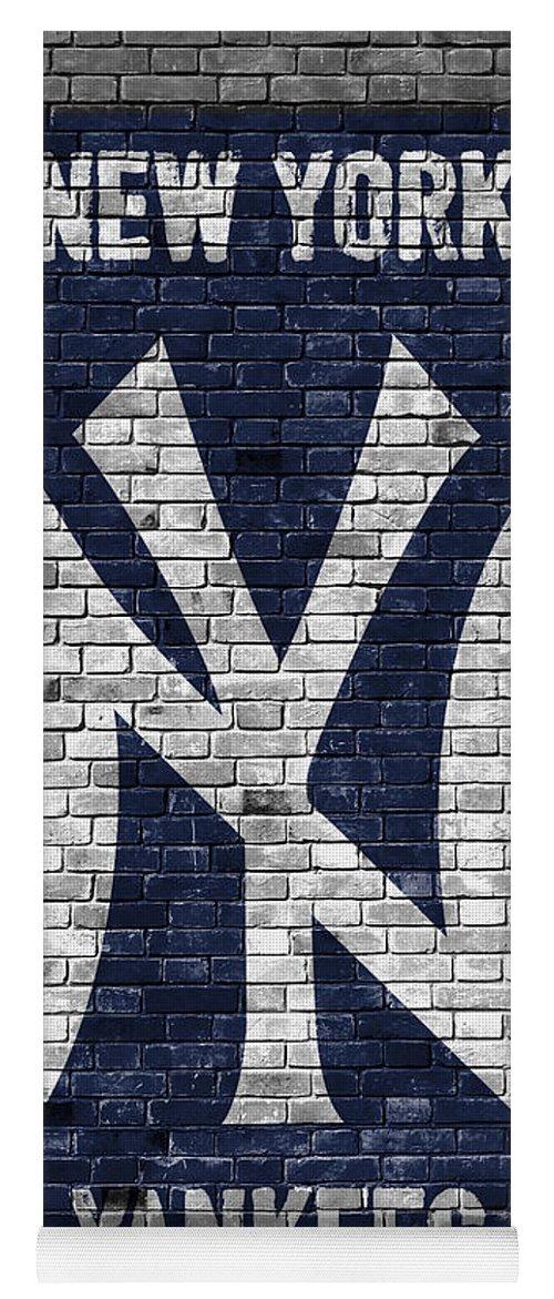 Yankees Yoga Mat featuring the painting New York Yankees Brick Wall by Joe Hamilton