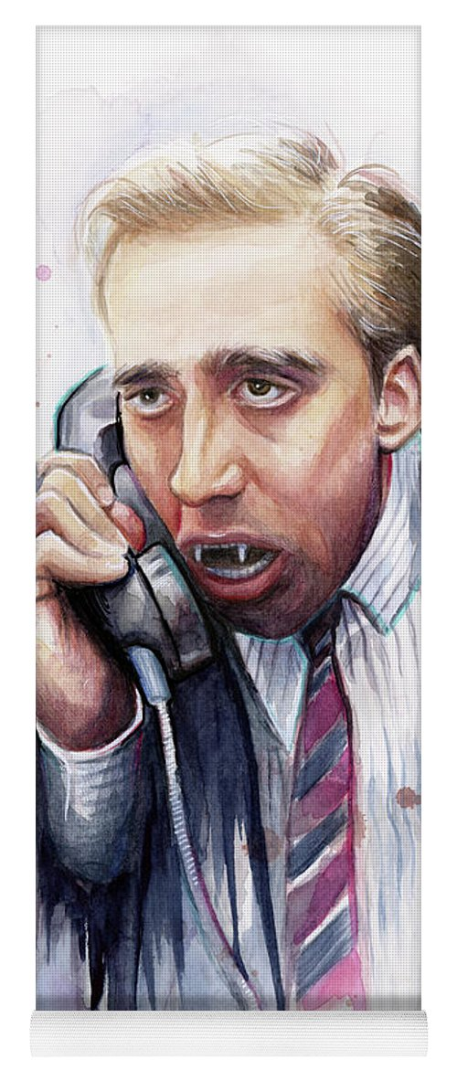 Nicolas Cage Yoga Mat featuring the painting Nicolas Cage A Vampire's Kiss Watercolor Art by Olga Shvartsur