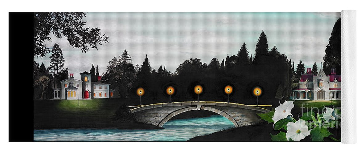 Architecture Yoga Mat featuring the painting Night Bridge by Melissa A Benson