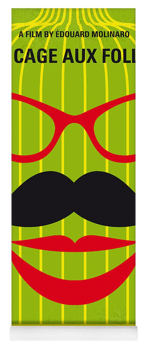 La Cage Yoga Mat featuring the digital art No473 My La cage aux folles minimal movie poster by Chungkong Art