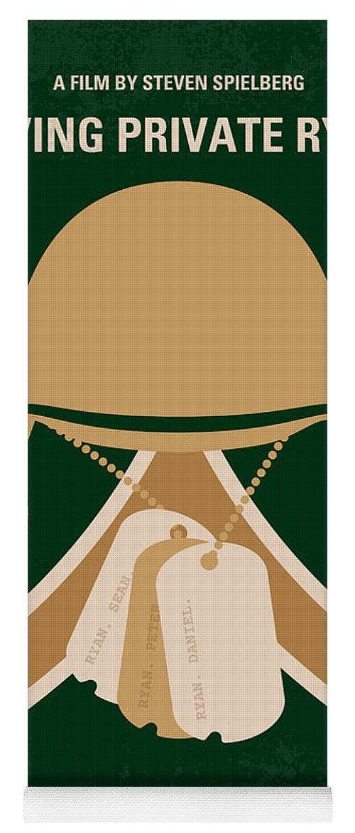 Saving Yoga Mat featuring the digital art No520 My Saving Private Ryan minimal movie poster by Chungkong Art