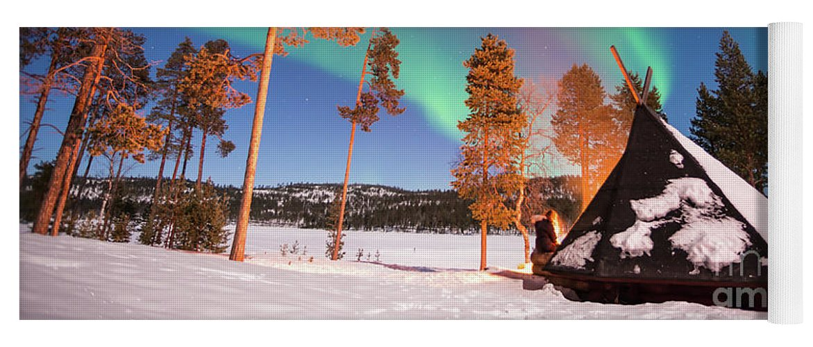 Northern Lights Yoga Mat featuring the photograph Northern Lights By The Lake by Delphimages Photo Creations