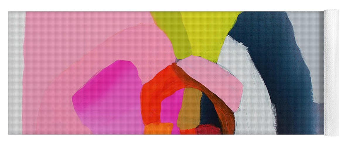Abstract Yoga Mat featuring the painting Note To Self by Claire Desjardins