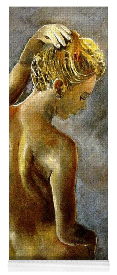 Girl Nude Yoga Mat featuring the painting Nude 27 by Pol Ledent