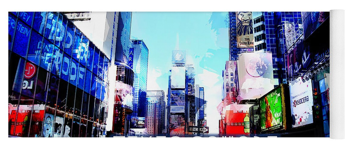 City Yoga Mat featuring the painting Nyc Times Square Text Times Square by Elaine Plesser