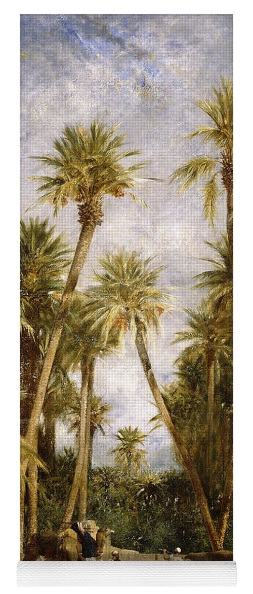 Camel Yoga Mat featuring the painting Oasis At Lagrount by Eugene Fromentin