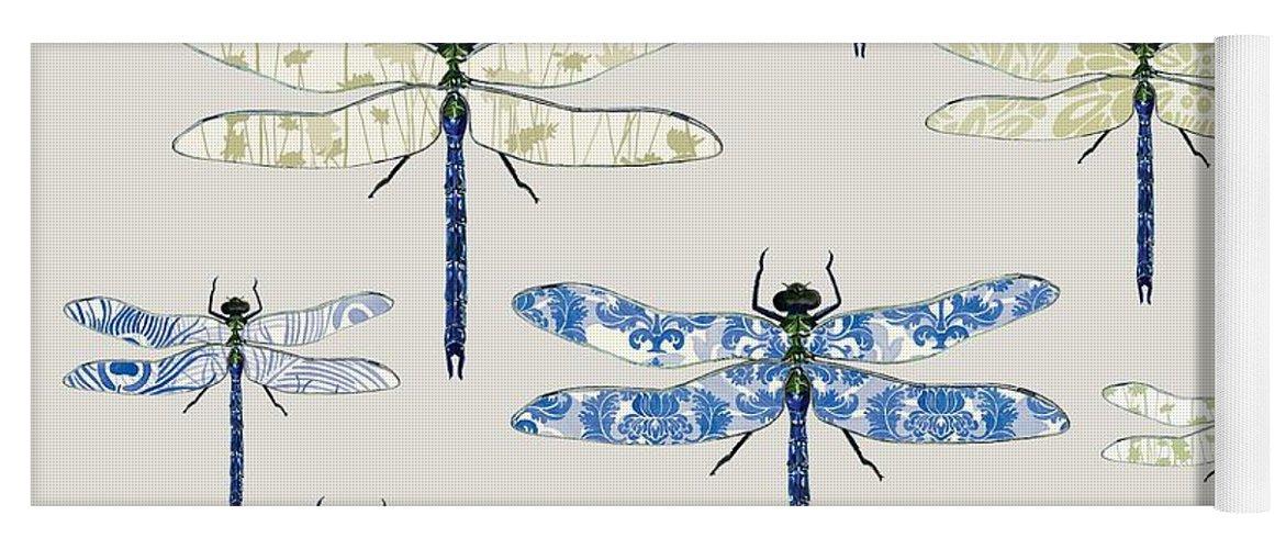 Dragonflies Yoga Mat featuring the digital art Odonata by Sarah Hough