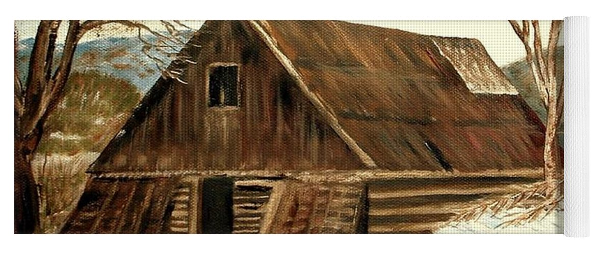 Barn Landscape Snow Yoga Mat featuring the painting Old Barn series 1 by Kenneth LePoidevin