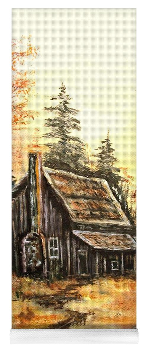 Landscape Old House Pump Yoga Mat featuring the painting Old house and Pump by Kenneth LePoidevin