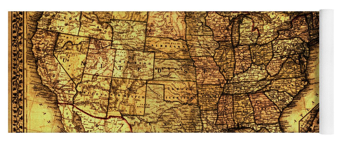 Old Map United States Yoga Mat For Sale By Lucia Sirna - Old-map-of-us