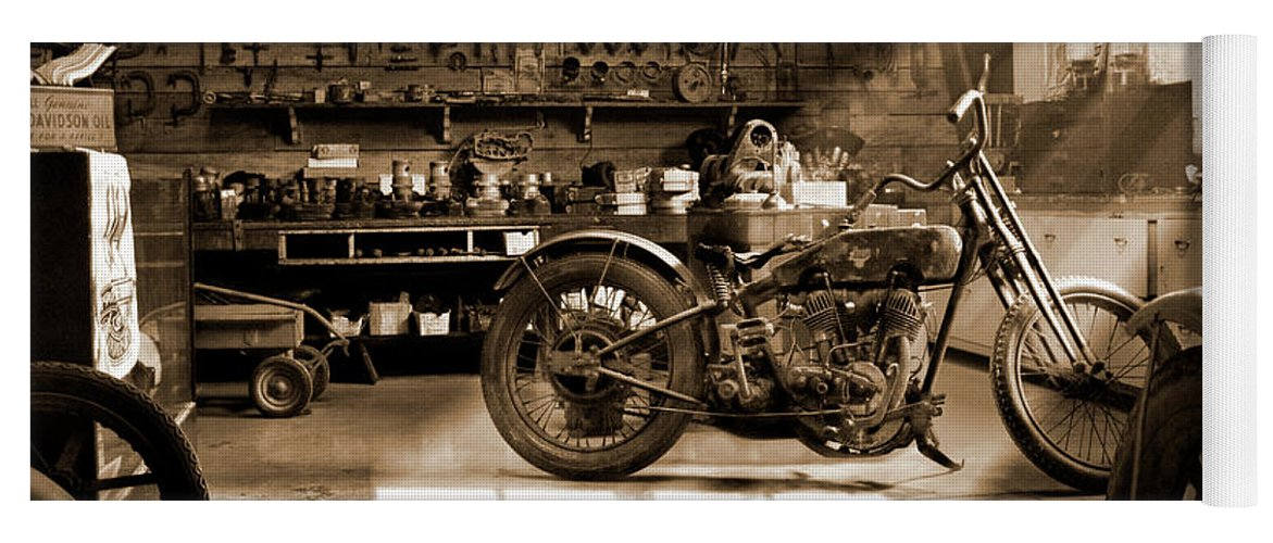 Motorcycle Yoga Mat featuring the photograph Old Motorcycle Shop by Mike McGlothlen