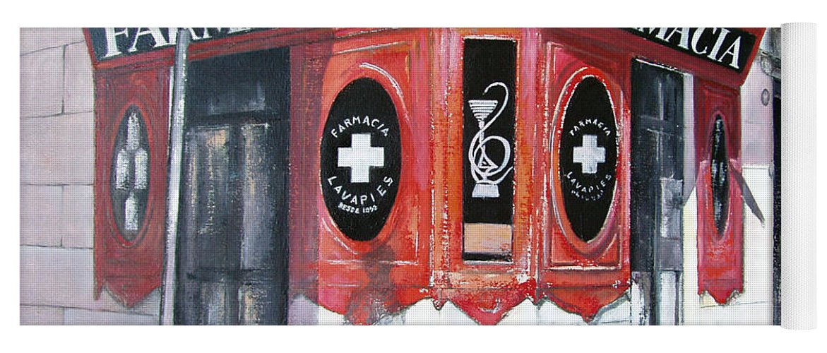 Pharmacy Yoga Mat featuring the painting Old Pharmacy by Tomas Castano