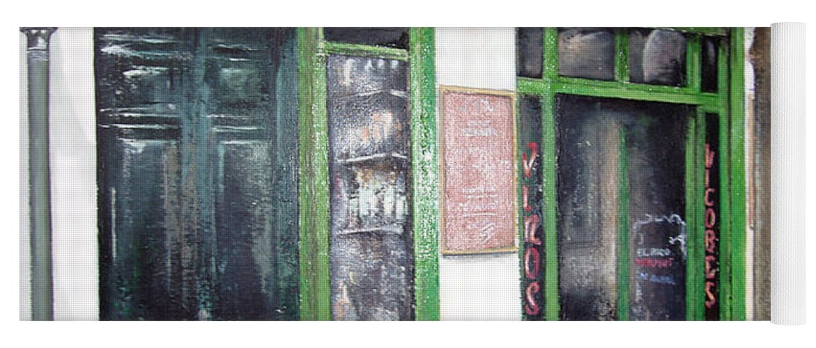 Bodegas Yoga Mat featuring the painting Old Tavern-Madrid by Tomas Castano