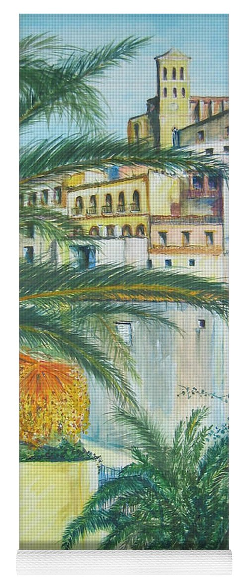 Ibiza Old Town Yoga Mat featuring the painting Old Town Ibiza by Lizzy Forrester