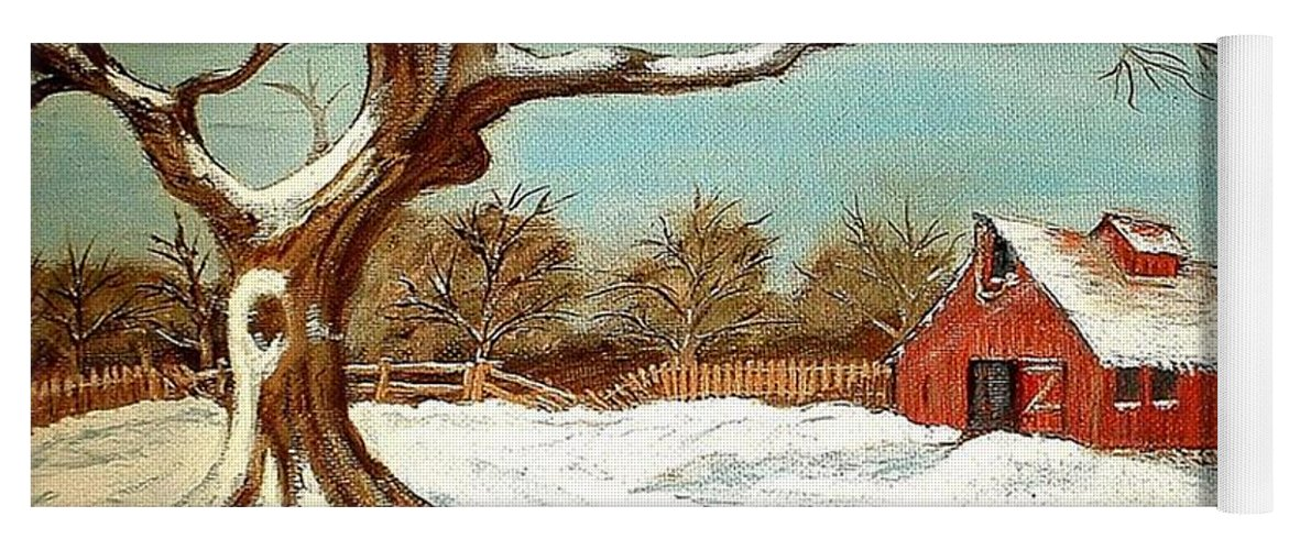 Old Tree Barn Wheelbarrow Snow Winter Painting Yoga Mat featuring the painting Old Tree and Barn by Kenneth LePoidevin