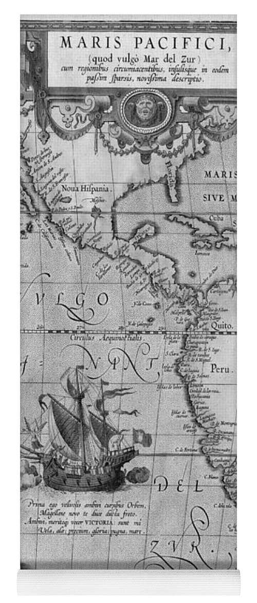 Old world map print from 1589 black and white yoga mat for sale by old world map yoga mat featuring the drawing old world map print from 1589 black gumiabroncs Gallery
