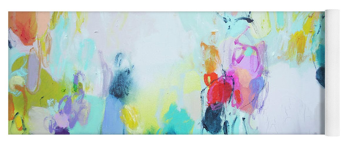 Abstract Yoga Mat featuring the painting On A Road Less Travelled by Claire Desjardins