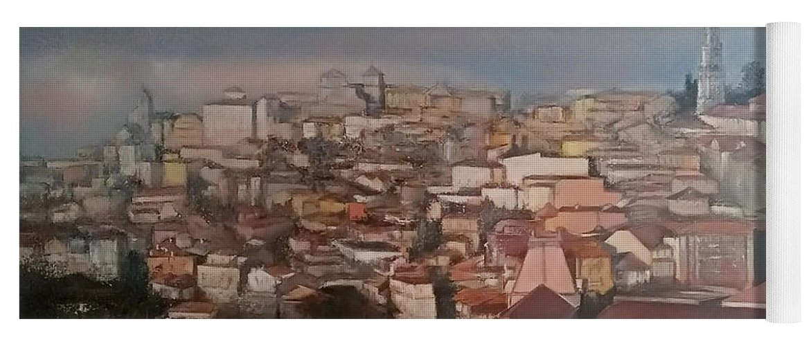 Porto Yoga Mat featuring the painting Oporto Panoramic by Tomas Castano